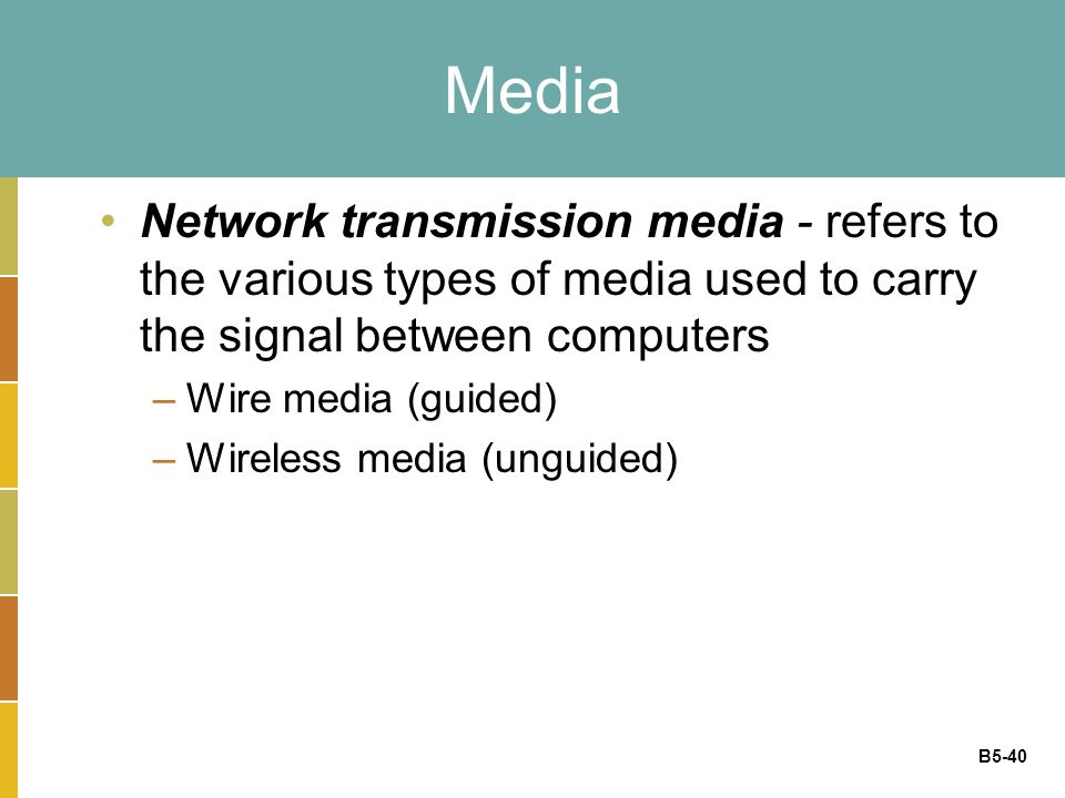 B5-40 Media Network transmission media - refers to the various types of media used to carry the signal between computers –Wire media (guided) –Wireless media (unguided)