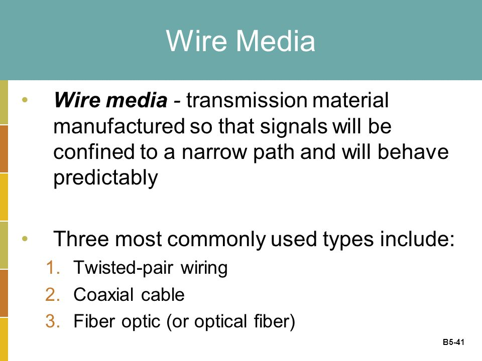 B5-41 Wire Media Wire media - transmission material manufactured so that signals will be confined to a narrow path and will behave predictably Three most commonly used types include: 1.Twisted-pair wiring 2.Coaxial cable 3.Fiber optic (or optical fiber)