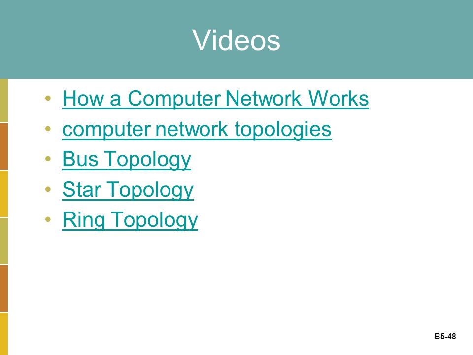 B5-48 Videos How a Computer Network Works computer network topologies Bus Topology Star Topology Ring Topology