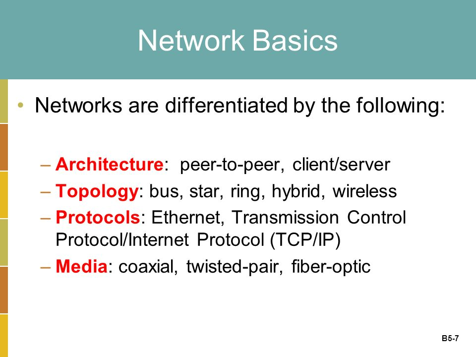 B5-7 Network Basics Networks are differentiated by the following: –Architecture: peer-to-peer, client/server –Topology: bus, star, ring, hybrid, wireless –Protocols: Ethernet, Transmission Control Protocol/Internet Protocol (TCP/IP) –Media: coaxial, twisted-pair, fiber-optic