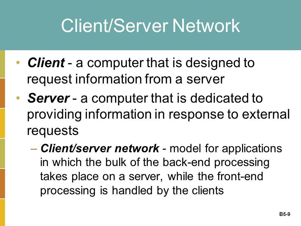 B5-10 Client/Server Computing Processing split between client & server machines