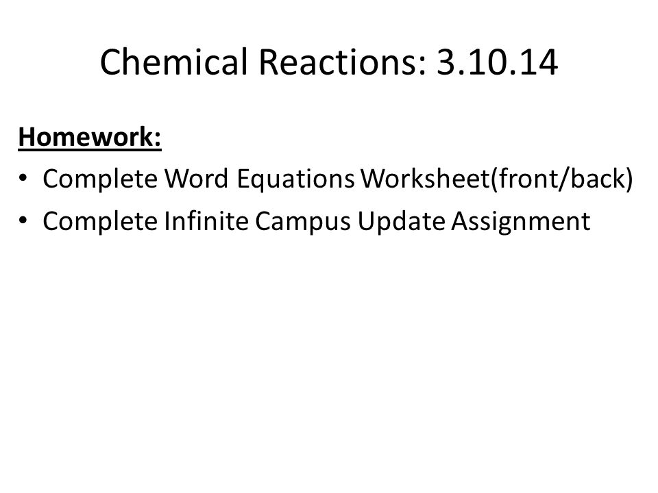 Law of Conservation of Mass Chemical Reactions ppt download – Word Equations Worksheet Chemistry