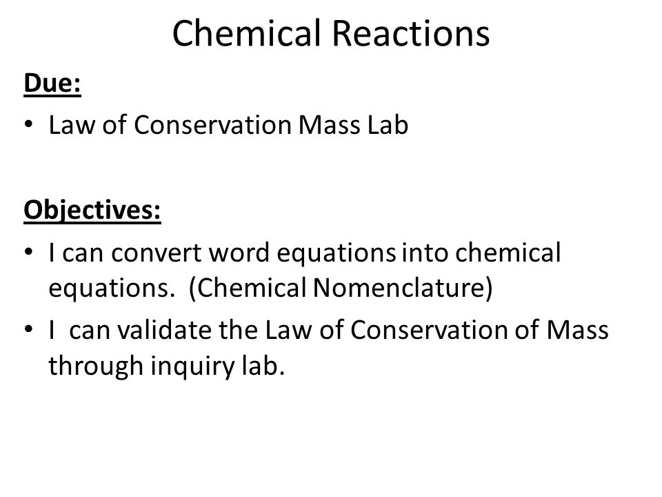 Law of Conservation of Mass Chemical Reactions ppt download – Law of Conservation of Mass Worksheet