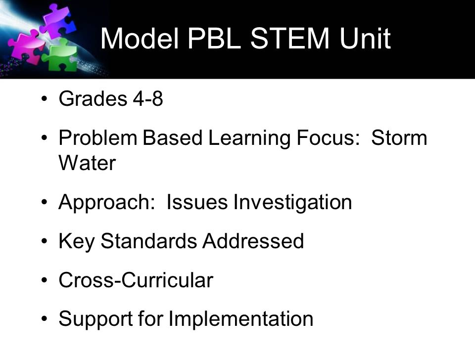 Model PBL STEM Unit Grades 4-8 Problem Based Learning Focus: Storm Water Approach: Issues Investigation Key Standards Addressed Cross-Curricular Support for Implementation