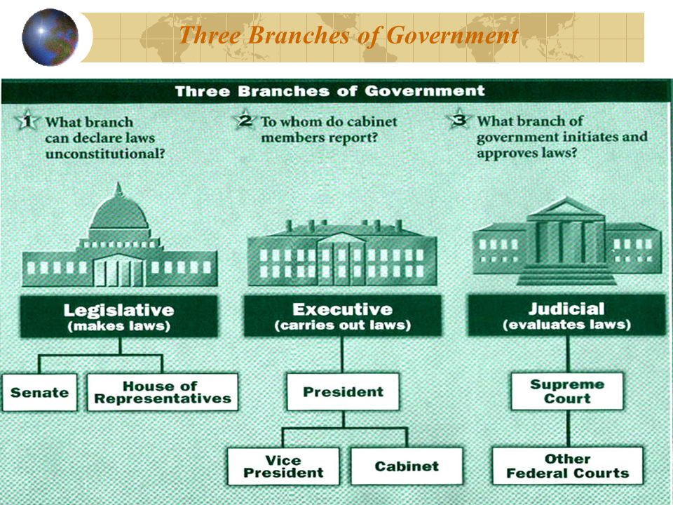 the three branches within the us government system Our government state & local government federal government and consist of three branches: of a system of checks and balances among the three branches of.