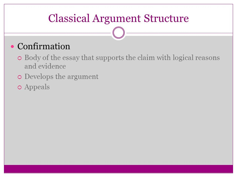 using soapstone and rhetorical appeals persuasion and argument  10 classical argument structure confirmation  body of the essay that supports the claim logical reasons and evidence  develops the argument 