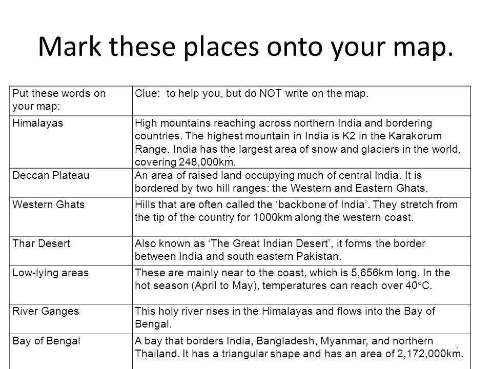 Mark these places onto your map.