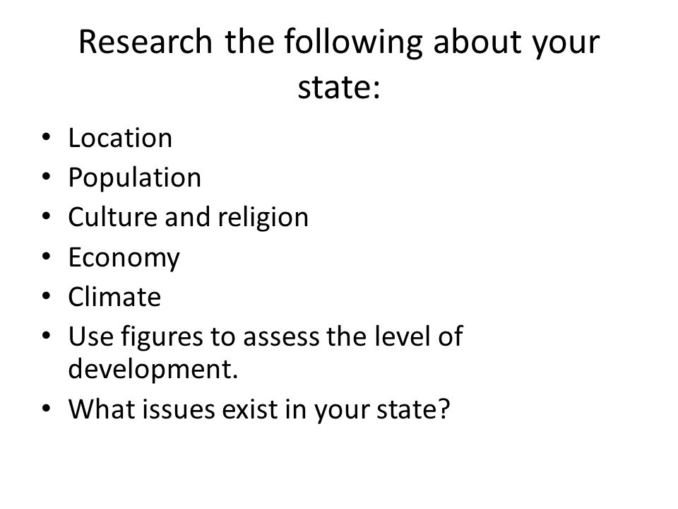 Research the following about your state: Location Population Culture and religion Economy Climate Use figures to assess the level of development.