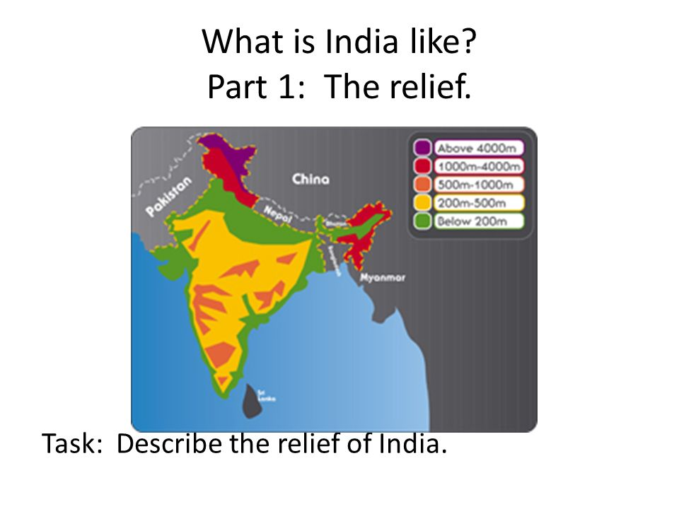 What is India like Part 1: The relief. Task: Describe the relief of India.