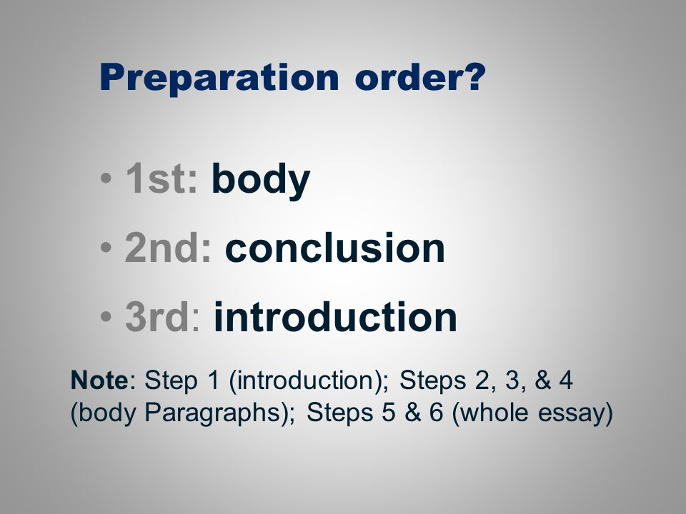 order thesis statement The usual order of a thesis statement is a) subject, main topics, sub-topics b) limited subject, writer's opinion, and main topics  how am i supposed.