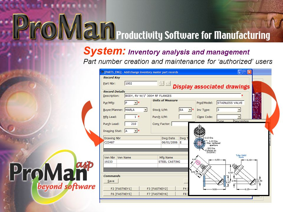 System: Inventory analysis and management Part number creation and maintenance for 'authorized' users Numeric and graphical display Display associated drawings