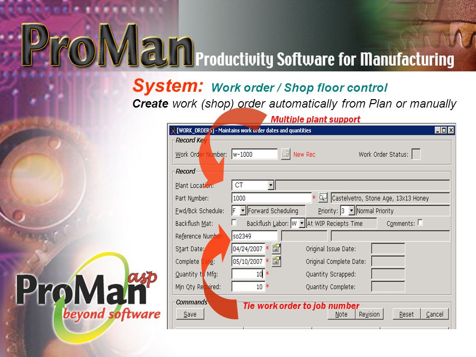 System: Work order / Shop floor control Create work (shop) order automatically from Plan or manually Multiple plant support Tie work order to job number CT