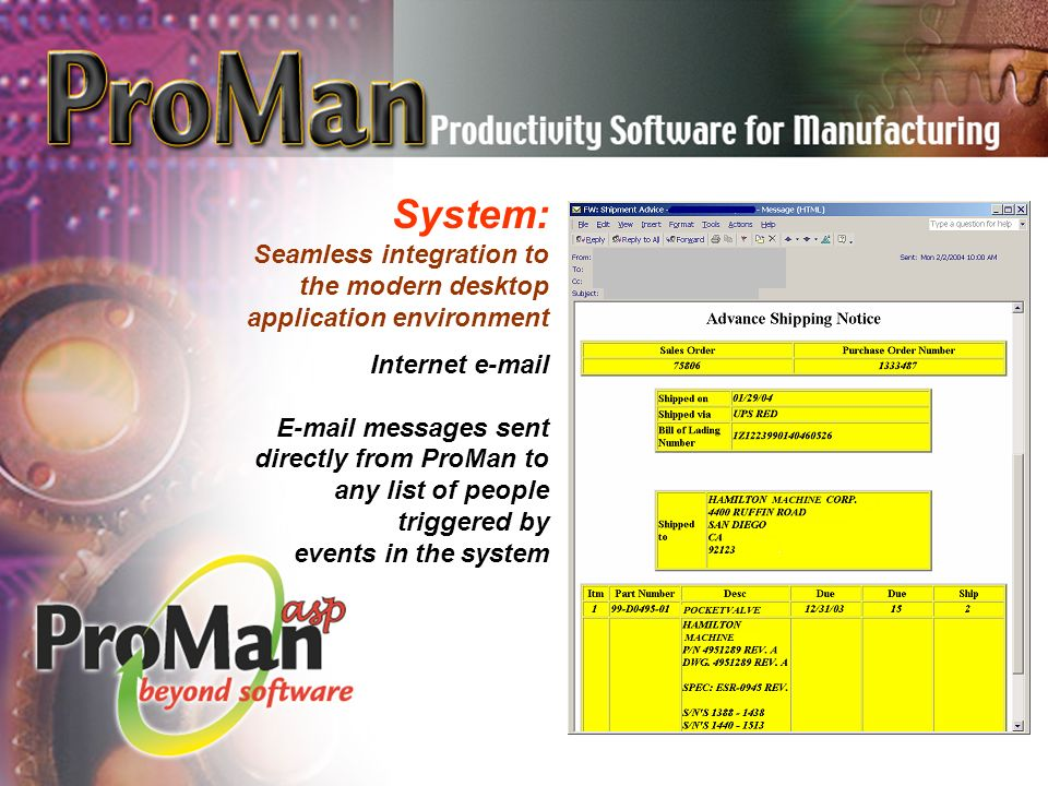 System: Seamless integration to the modern desktop application environment Internet e-mail E-mail messages sent directly from ProMan to any list of people triggered by events in the system