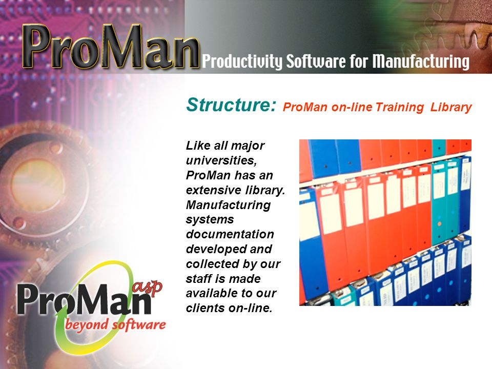 Like all major universities, ProMan has an extensive library.