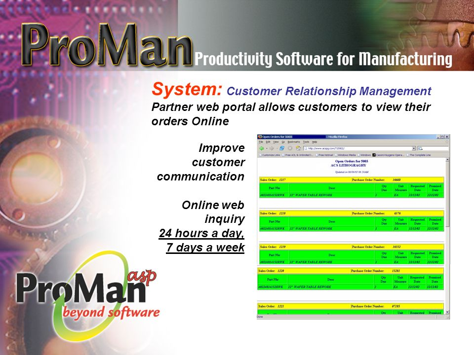 System: Customer Relationship Management Partner web portal allows customers to view their orders Online Improve customer communication Online web inquiry 24 hours a day, 7 days a week