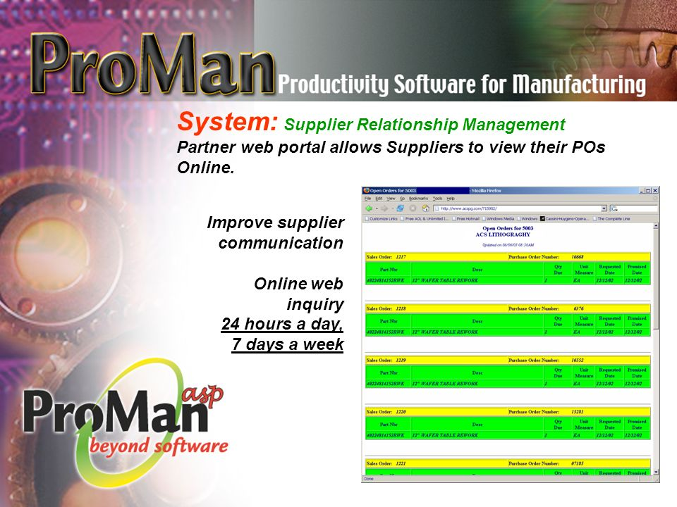 System: Supplier Relationship Management Partner web portal allows Suppliers to view their POs Online.