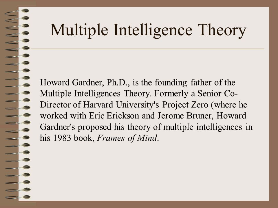 summary of gardner s theory Gardner's theory of intelligence gardner's theory suggests that within each human there are a variety of intelligence areas that one may succeed within.