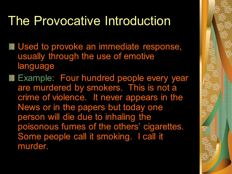 introduction essays smoking Essay, term paper research paper on smoking tobacco tobacco is a substance consisting of the dried leaves and stems of the plant nicotinia tabacum, which contains the drug nicotine.