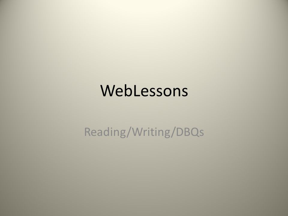 How to write a DBQ (content and format)?