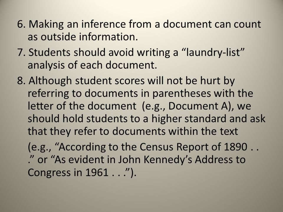 Example of a laundry list on a DBQ?