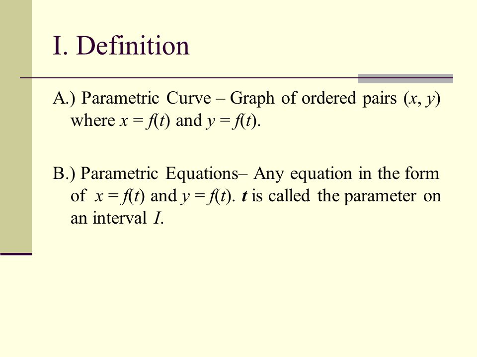 Curves defined by parametric equations homework assignments