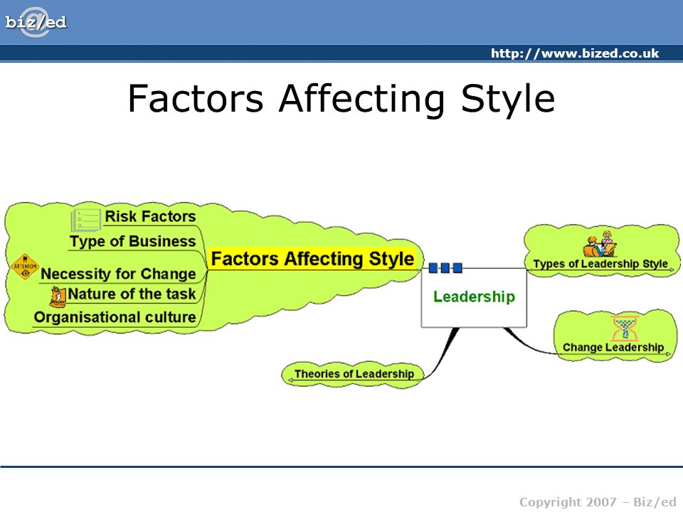 http://www.bized.co.uk Copyright 2007 – Biz/ed Factors Affecting Style