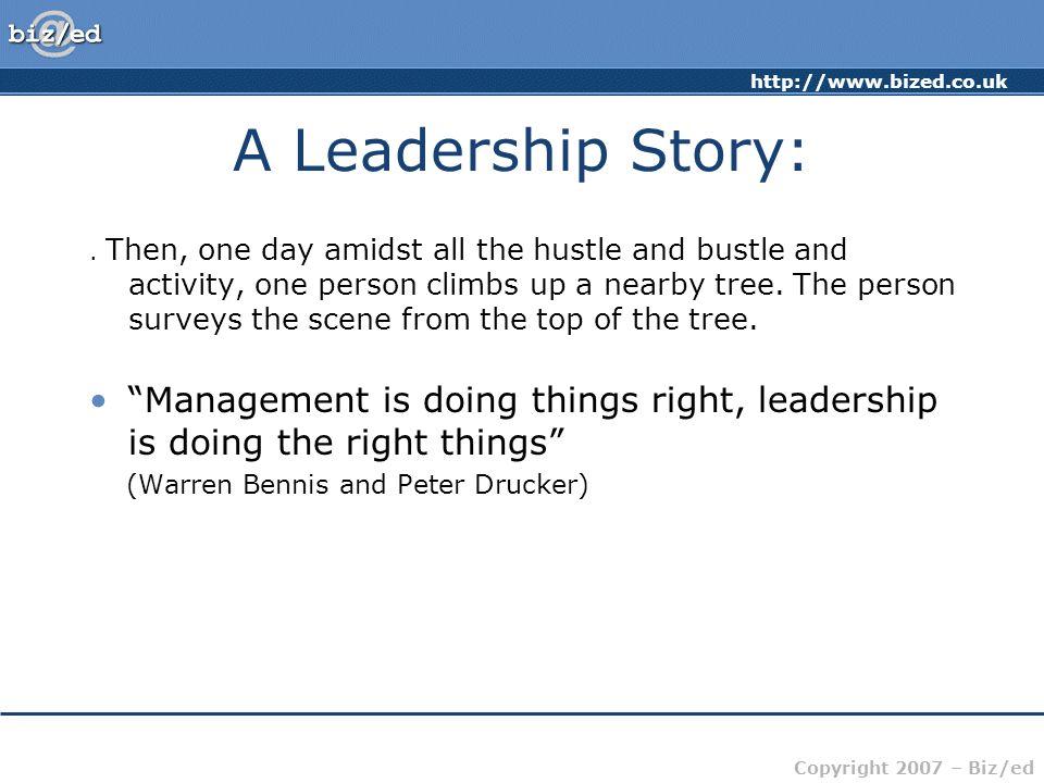 http://www.bized.co.uk Copyright 2007 – Biz/ed A Leadership Story:.