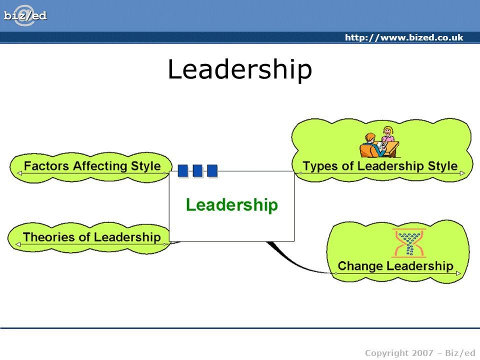 http://www.bized.co.uk Copyright 2007 – Biz/ed Leadership