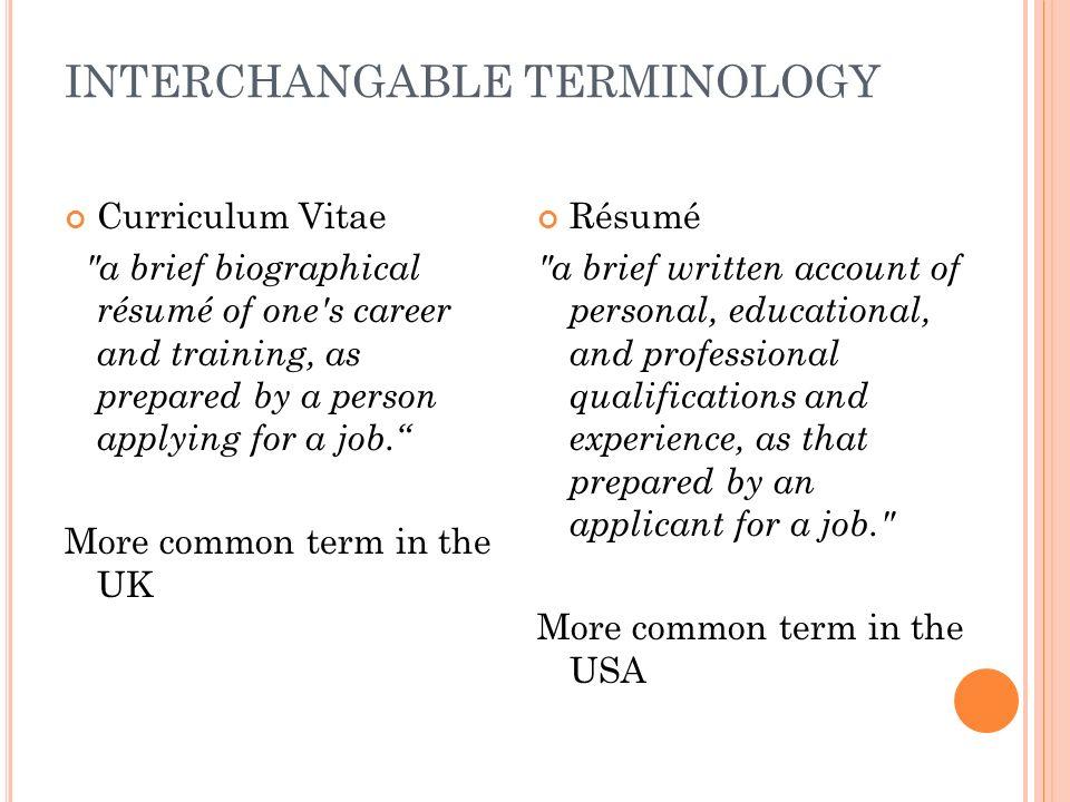 resume terminology