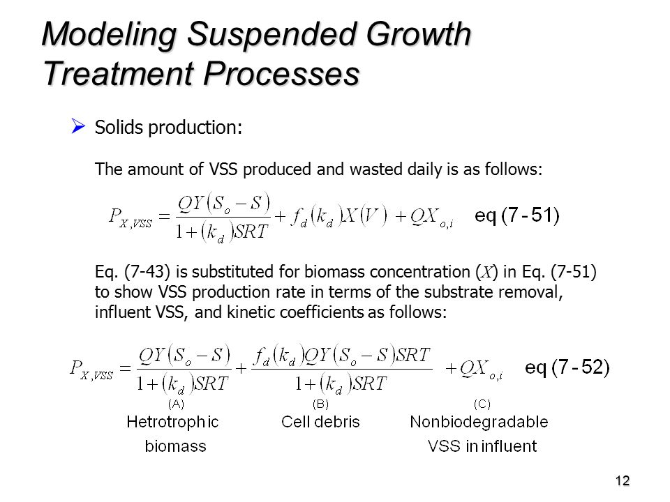 12 Modeling Suspended Growth Treatment Processes   Solids production: The amount of VSS produced and wasted daily is as follows: Eq.