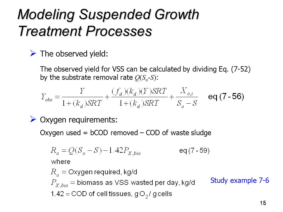 15 Modeling Suspended Growth Treatment Processes   The observed yield: The observed yield for VSS can be calculated by dividing Eq.