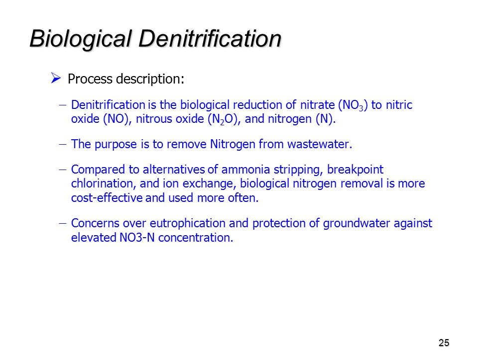 25 Biological Denitrification   Process description:   Denitrification is the biological reduction of nitrate (NO 3 ) to nitric oxide (NO), nitrous oxide (N 2 O), and nitrogen (N).