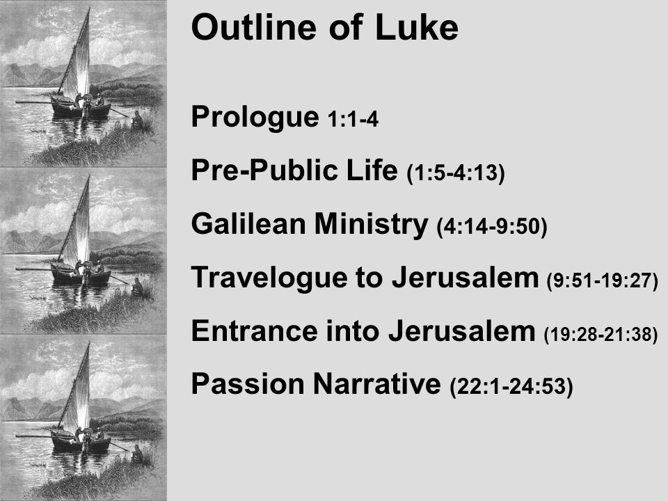 Outline of Luke Prologue 1:1-4 Pre-Public Life (1:5-4:13) Galilean Ministry (4:14-9:50) Travelogue to Jerusalem (9:51-19:27) Entrance into Jerusalem (19:28-21:38) Passion Narrative (22:1-24:53)