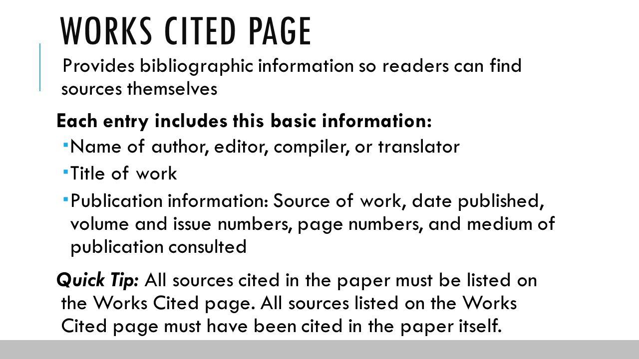 Bibliographic entry mla