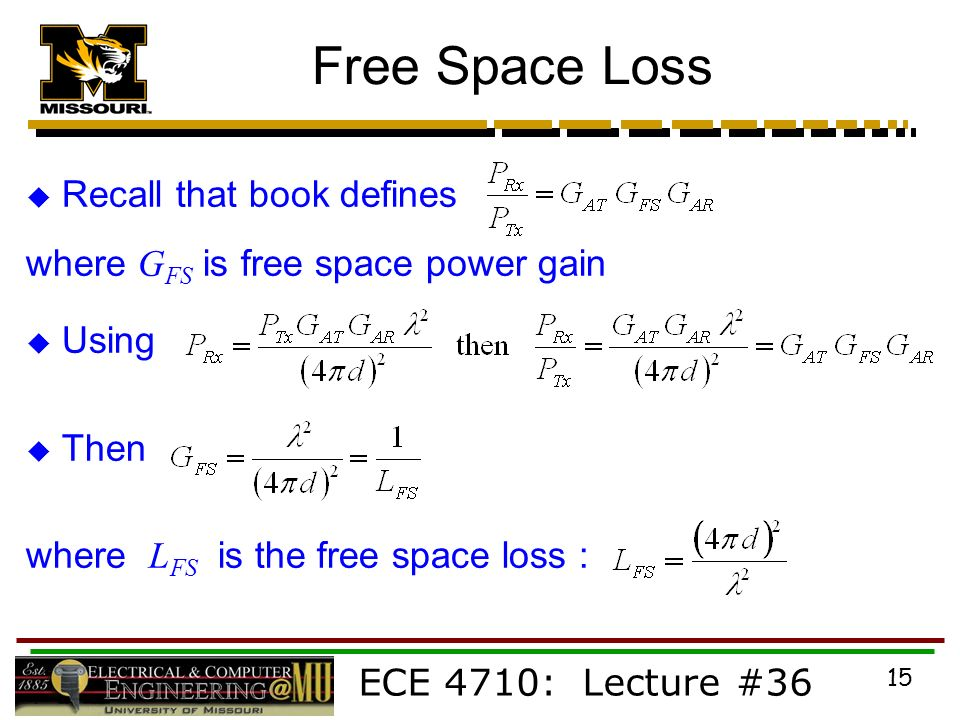 ECE 4710: Lecture #36 15 Free Space Loss  Recall that book defines where G FS is free space power gain  Using  Then where L FS is the free space loss :
