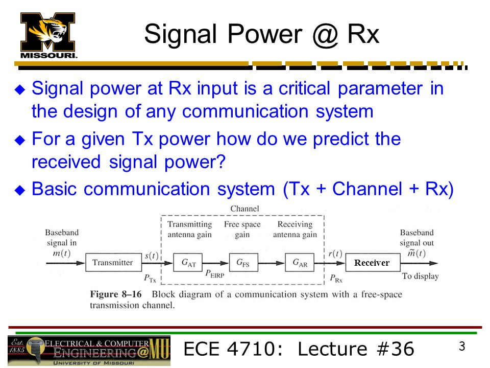 ECE 4710: Lecture #36 3 Signal Rx  Signal power at Rx input is a critical parameter in the design of any communication system  For a given Tx power how do we predict the received signal power.