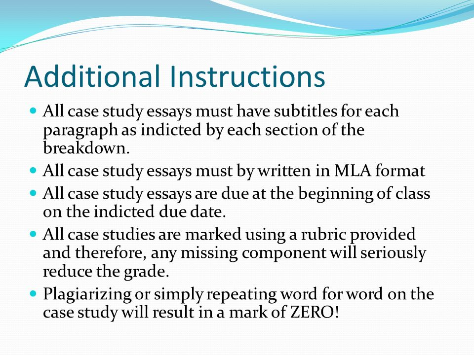 how do i write a proper case study analysis what is the case  additional instructions all case study essays must have subtitles for each paragraph as indicted by each