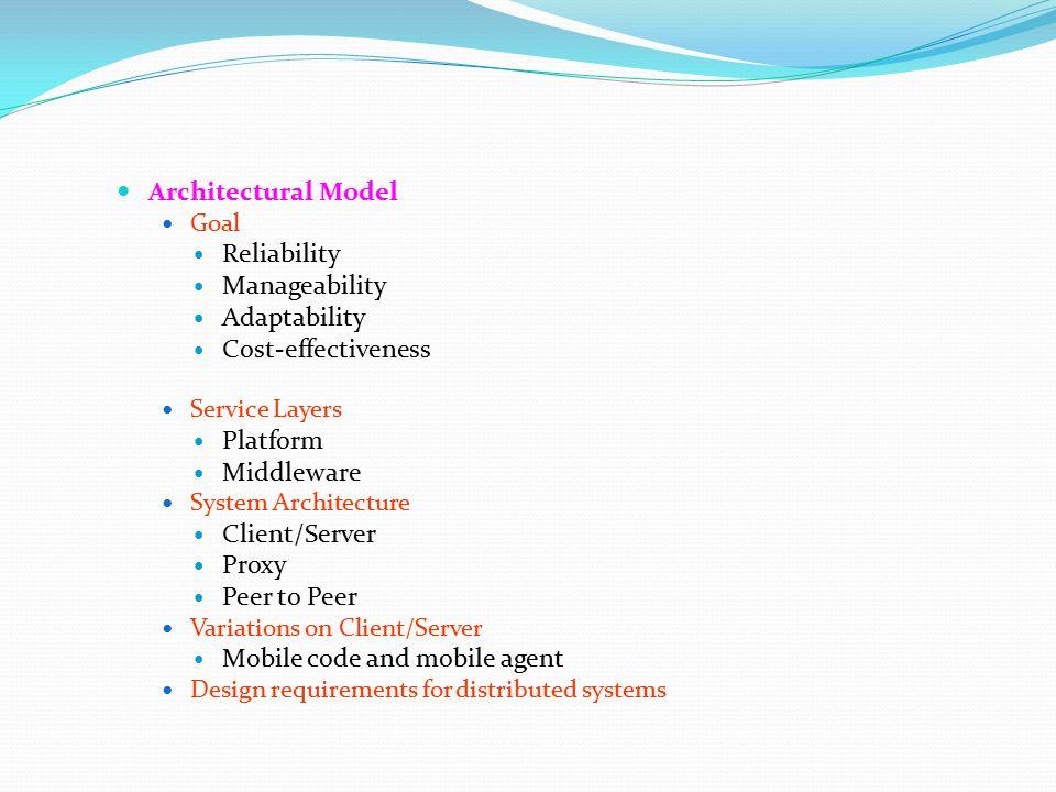 distributed system models fundamental model architectural model