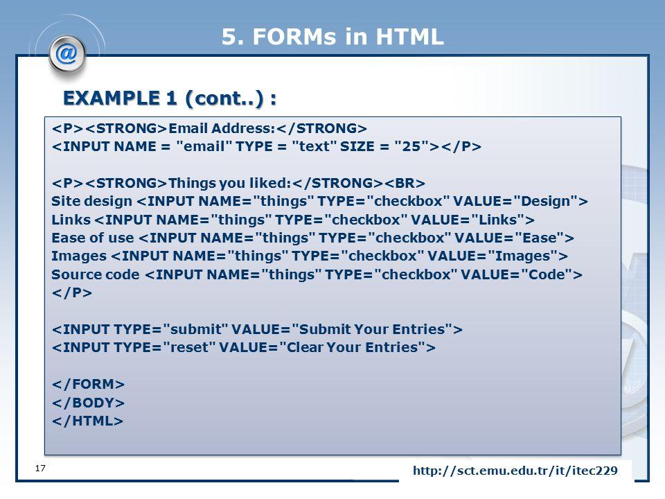 LOGO FORMs in HTML CHAPTER 5 Eastern Mediterranean University ...