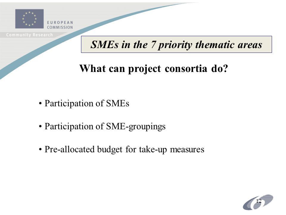 12 Participation of SMEs Participation of SME-groupings Pre-allocated budget for take-up measures SMEs in the 7 priority thematic areas What can project consortia do