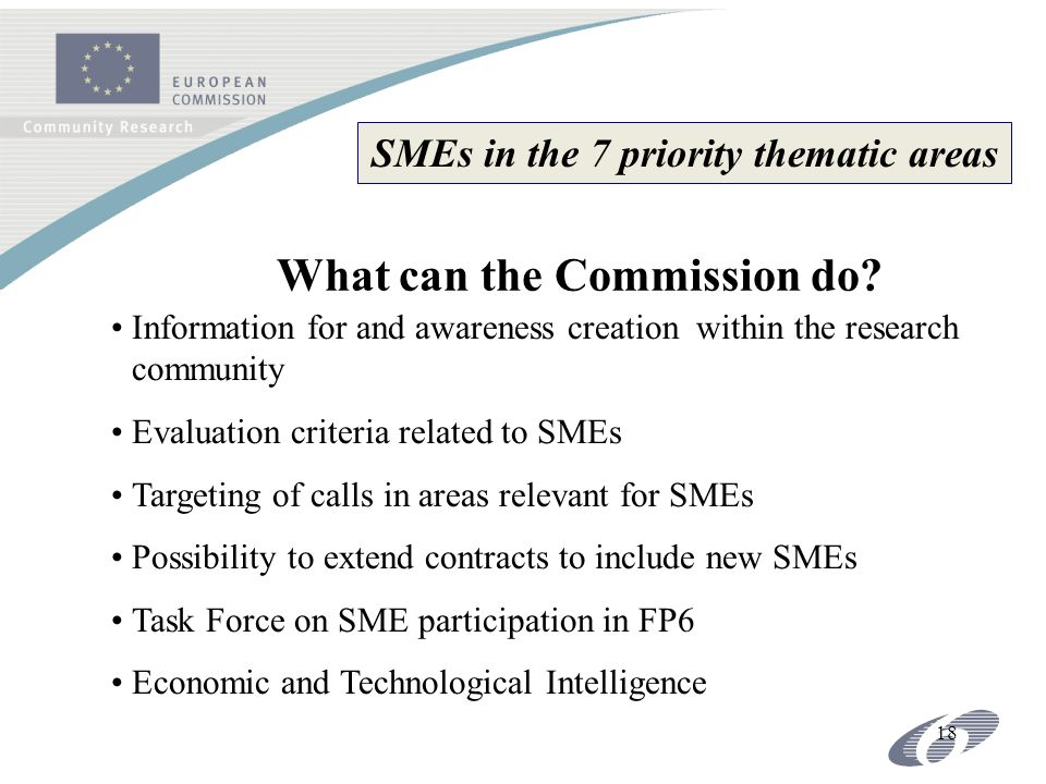 18 SMEs in the 7 priority thematic areas What can the Commission do.