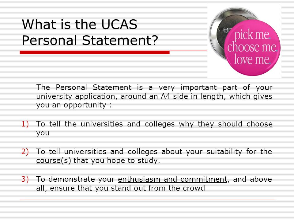 Choosing our personal statement