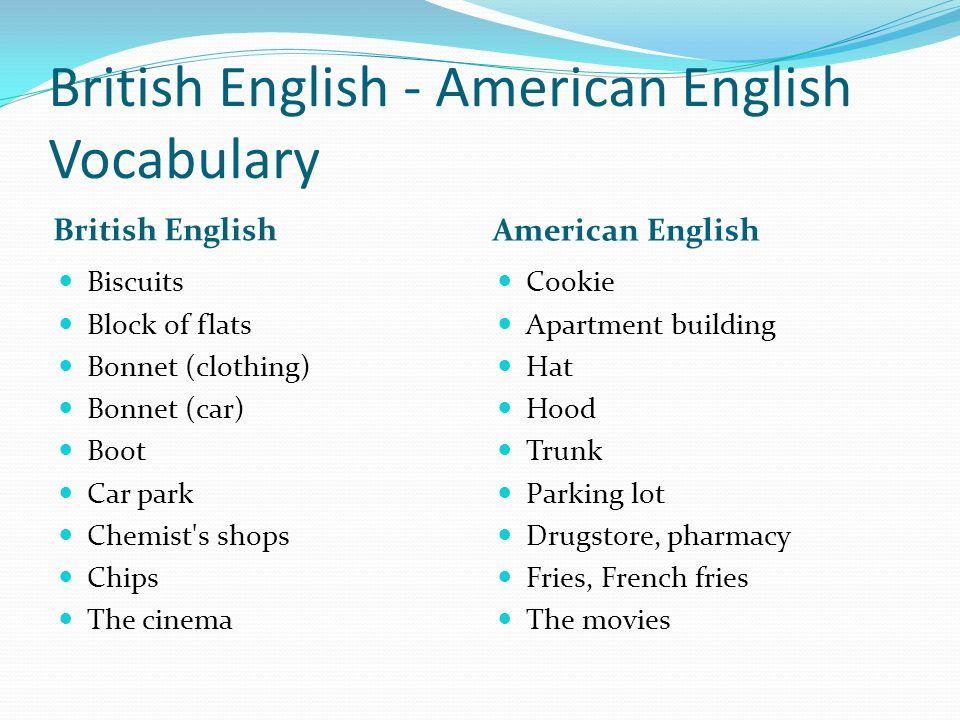 british english american english vocabulary