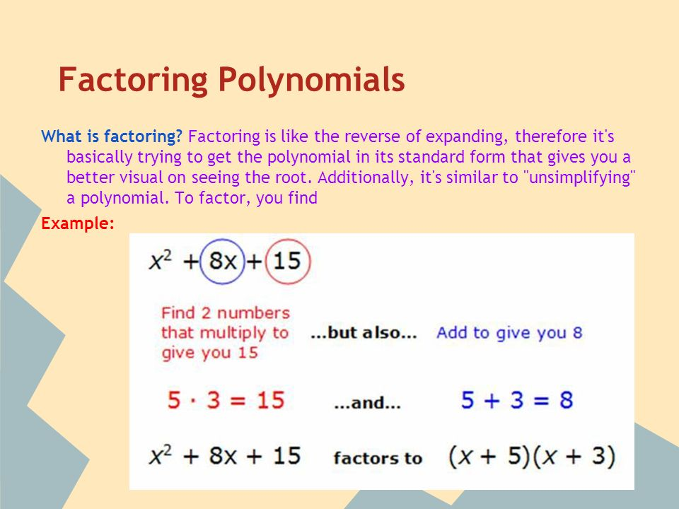 Factoring Polynomials What is factoring.