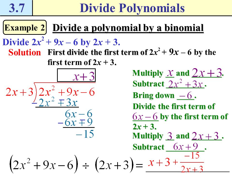3.7Divide Polynomials Checkpoint. Complete the following exercises.