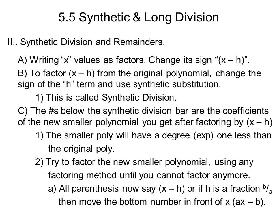 55 synthetic long division i synthetic substitution and 55 synthetic long division ii synthetic division and remainders ccuart Images