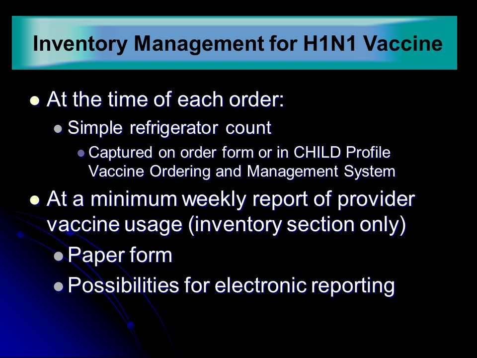 HN Vaccine Management Basics Allocations Inventory Ordering Doses