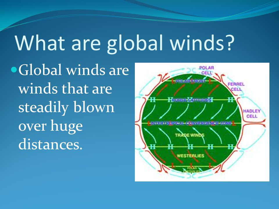 What are global winds Global winds are winds that are steadily blown over huge distances.