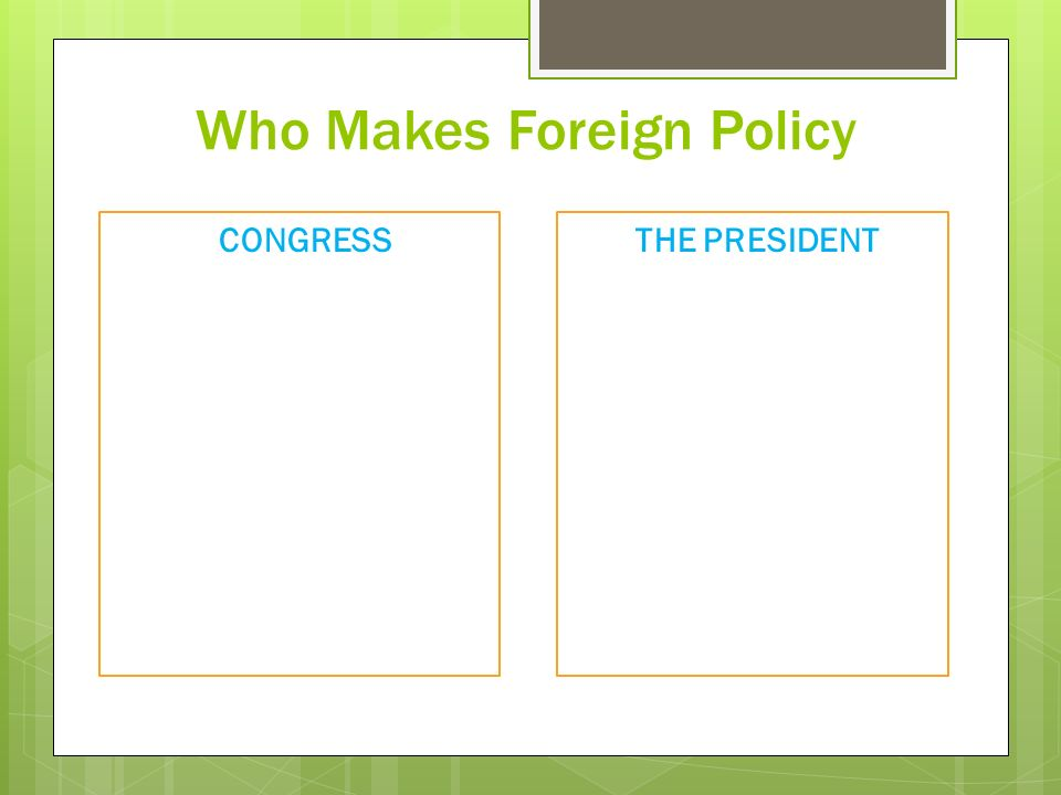 Who Makes Foreign Policy THE PRESIDENT CONGRESS