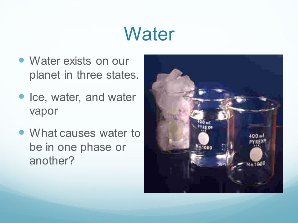 Water Water exists on our planet in three states.